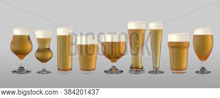 Various Shaped Beer Glasses Filled With Beer And A Head Of Foam On An Isolated Background - 3d Rende