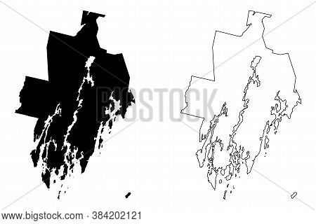 Lincoln County, Maine (u.s. County, United States Of America, Usa, U.s., Us) Map Vector Illustration