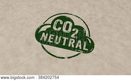 Co2 Carbon Neutral Emission Stamp Icons In Few Color Versions. Ecology, Nature Friendly, Climate Cha