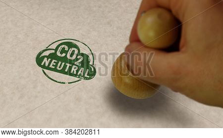 Co2 Carbon Neutral Emission Stamp And Stamping Hand. Ecology, Nature Friendly, Climate Change, Green