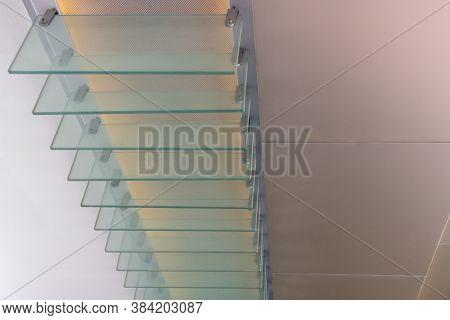 Fragment Of Exterior Lighting Equipment For Modern Building Overhang. Transparent Glass Separators F
