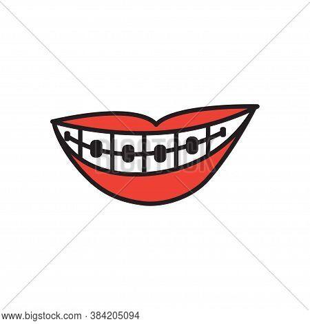 Smirk Braces Teeth Icon Design Template Vector Isolated