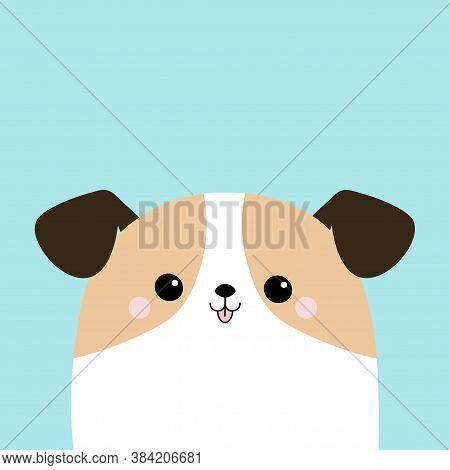Dog Face Puppy Icon. White Pooch. Cute Cartoon Kawaii Funny Baby Character. Help Homeless Animal Con