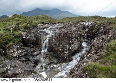 Waterfalls At Allt Dearg Mor River Near Sligachan In Isle Of Skye, Scotland, Uk