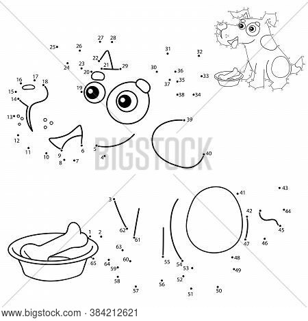 Educational Puzzle Game For Kids: Numbers Game. Cartoon Dog With Bone. Pets. Coloring Book For Child