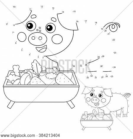 Puzzle Game For Kids: Numbers Game. Cartoon Pig Or Swine. Farm Animals. Coloring Book For Children.