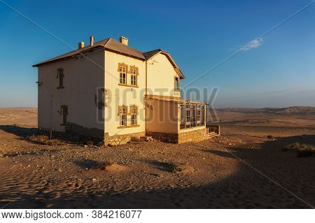 Abandoned House In Kolmanskop Ghost Town Located In Southern Namibia Near The Town Of Luderitz.