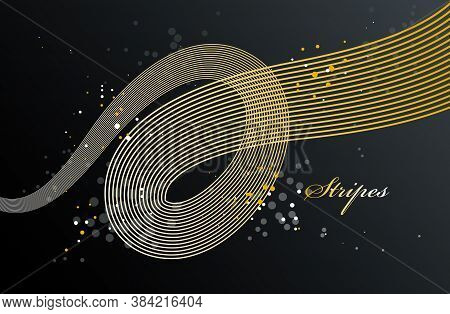 Abstract Elegant Golden Curvy Thin Lines Vector Abstract Background, Gold Elegant Light Stripy Desig
