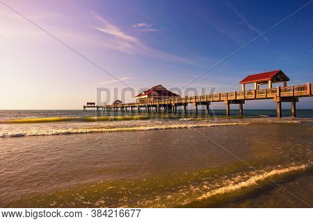 Pier 60 At Sunset On A Clearwater Beach In Florida.