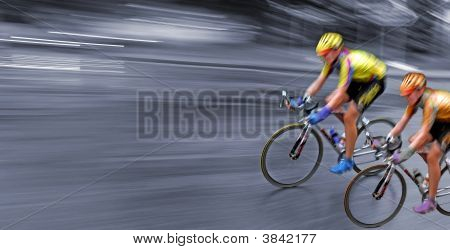 Race, Rally, Speedy Bicyclists In Motion