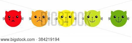 Cat Kitten Kitty. Face Satisfaction Emoticon Happiness Feedback Scale. From Happy To Angry Emotion.