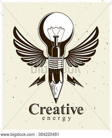 Pencil With Idea Light Bulb Combined Into Symbol With Wings, Creative Energy Design Art Or Science I
