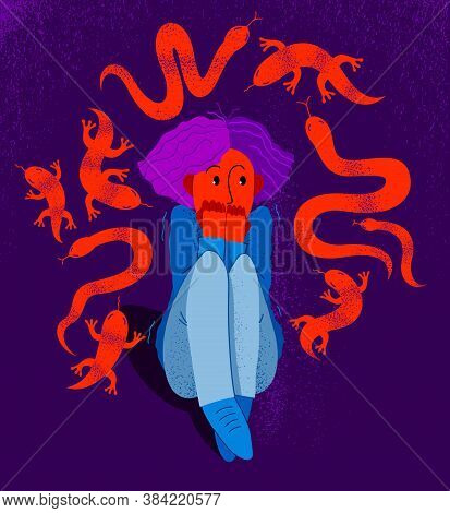 Herpetophobia Fear Of Reptiles Snakes And Lizards Vector Illustration, Girl Surrounded By Imaginary