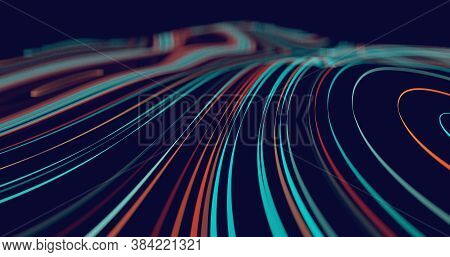 Abstract Flowing Lines Background For Your Design Project. 3d Illustration. 3d Rendering. Futuristic