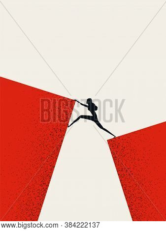 Business Woman Leader Vector Concept. Businesswoman Climbing Across Gap. Symbol Of Strength, Courage