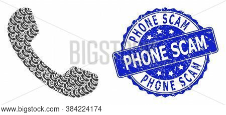 Phone Scam Dirty Round Stamp Seal And Vector Recursion Mosaic Phone. Blue Stamp Seal Includes Phone