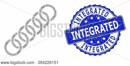 Integrated Rubber Round Seal Print And Vector Fractal Collage Circle Chain. Blue Stamp Seal Includes