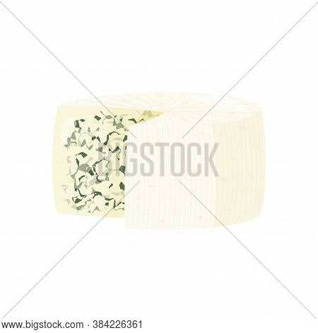 Blue Cheese Isolated On White Background. Roquefort Cheese Vector Illustration.