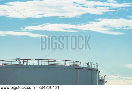 Closeup Fuel Storage Tank In Petroleum Refinery. White Big Tank Of Oil Storage. Fuel Silo. Liquid Pe