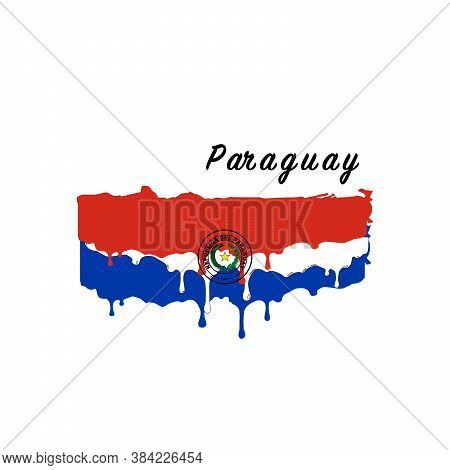 Painted Paraguay Flag, Paraguay Flag Paint Drips. Stock Vector Illustration Isolated On White Backgr