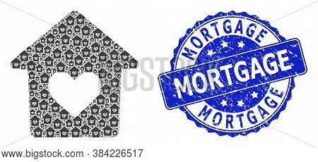 Mortgage Grunge Round Stamp Seal And Vector Recursion Mosaic Lovely House. Blue Stamp Seal Includes