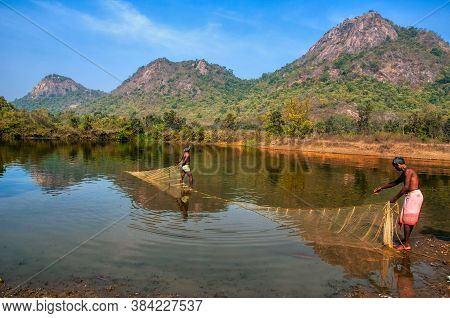 January 14th 2016 Manbhum West Bengal India : Fisherman Doing Their Job At Manbhum West Bengal India