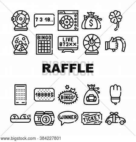 Raffle Lottery Game Collection Icons Set Vector