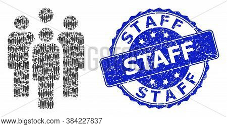 Staff Corroded Round Stamp Seal And Vector Recursive Mosaic Staff. Blue Stamp Has Staff Tag Inside R
