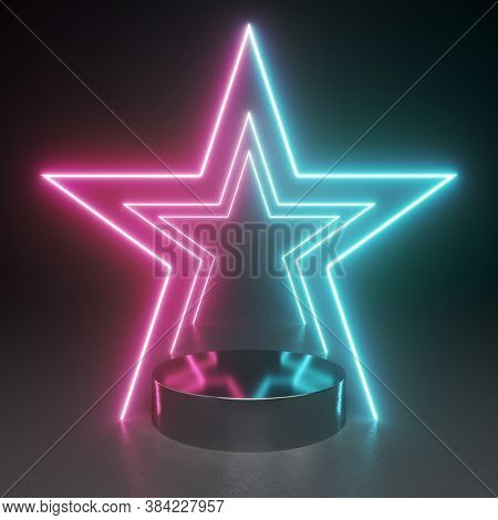 Product stand in shining neon star light and black background, 3D illustration, rendering.