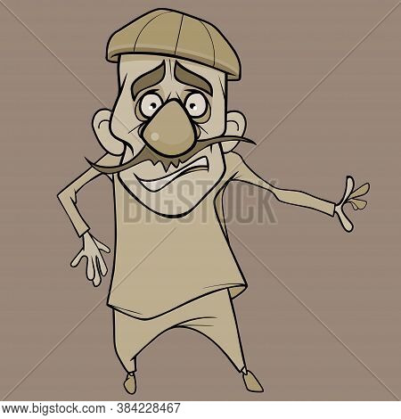 Cartoon Funny Mustachioed Frightened Man Looking Wide-eyed In Surprise