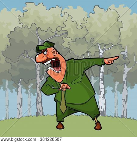 Cartoon Angry Man In Birch Forest Shouting Pointing Finger To The Side