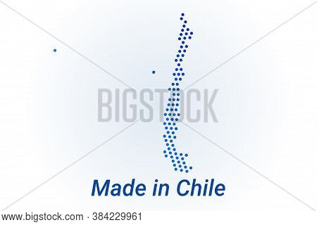 Map Icon Of Chile. Vector Logo Illustration With Text Made In Chile. Blue Halftone Dots Background.