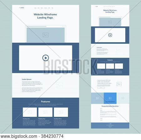 Website Landing Page Design For Business. One Page Site Wireframe Layout Template. Modern Flat Ux/ui