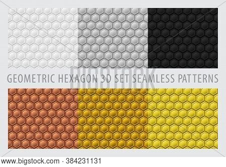 Seamless 3d Geometric Hexagon. Geometry Pattern Metallic Color Set. Background White-color, Gray-col
