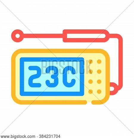 Thermometer With Probe Measuring Equipment Color Icon Vector Illustration