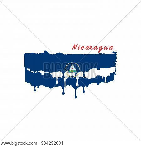 Painted Nicaragua Flag, Nicaragua Flag Paint Drips. Stock Vector Illustration Isolated On White Back
