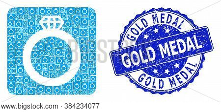 Gold Medal Grunge Round Stamp Seal And Vector Recursive Mosaic Gem Ring. Blue Stamp Contains Gold Me