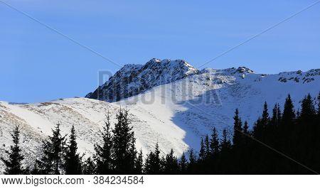 lwintwr landscape with low tatra mountains in Slovakia