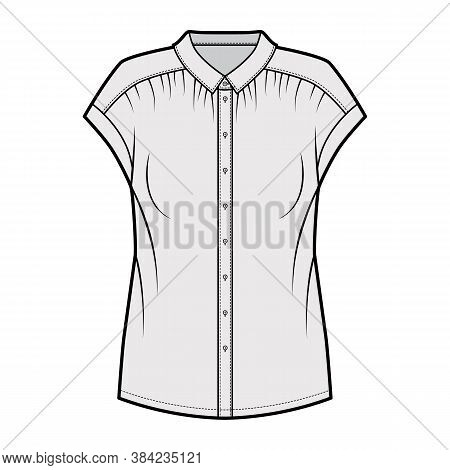 Gentle Pleats Shirt Technical Fashion Illustration With Loose Silhouette, Regular Colar With Stand,