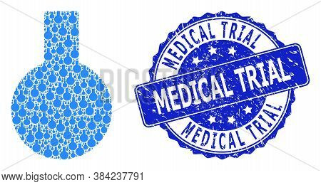 Medical Trial Textured Round Seal Imitation And Vector Recursive Mosaic Glass Flask. Blue Seal Inclu