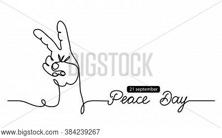 Fingers In Peace Sign Simple Vector Background, Web Banner, Poster. International Peace Day Illustra