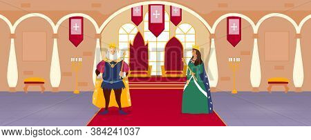 King And Queen Standing On A Red Carpet In Front Of Their Thrones In The Court Room In A Palace, Col