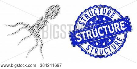 Structure Textured Round Stamp And Vector Recursion Mosaic Virus Structure. Blue Stamp Has Structure