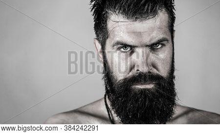 Portrait Brutal Bearded Man. Handsome Brutal Male. Sexy Closeup Portrait Of Brutal Handsome Male, Bl