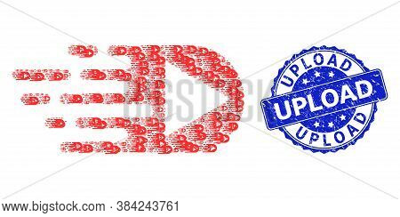 Upload Dirty Round Seal And Vector Fractal Collage Play Function. Blue Stamp Seal Includes Upload Ti