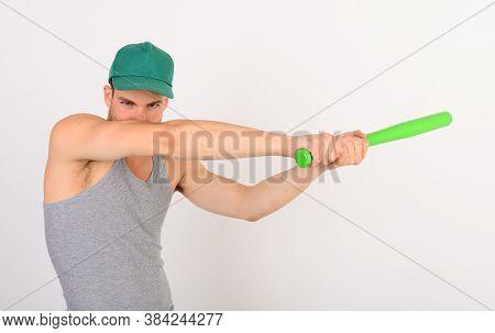 Man In Cyan Green Cap On White Background