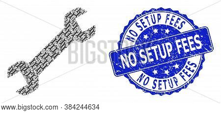 No Setup Fees Textured Round Stamp And Vector Fractal Collage Wrench. Blue Stamp Seal Includes No Se