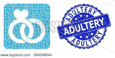 Adultery Rubber Round Seal Print And Vector Recursive Collage Wedding Rings. Blue Seal Contains Adul