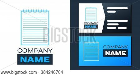 Logotype Notebook Icon Isolated On White Background. Spiral Notepad Icon. School Notebook. Writing P