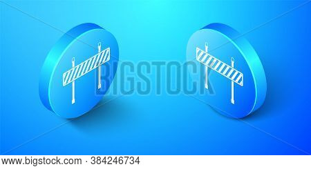 Isometric Road Barrier Icon Isolated On Blue Background. Fence Of Building Or Repair Works. Hurdle I